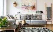 Grey corner sofa in living room