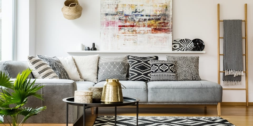 Grey corner sofa in living room