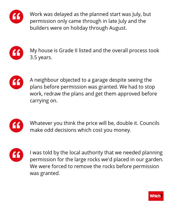 Quotes from homeowners about their planning permission problems