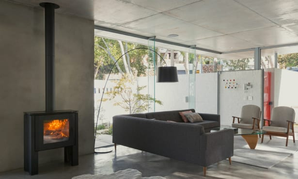 Modern living room with standalone wood-burning stove