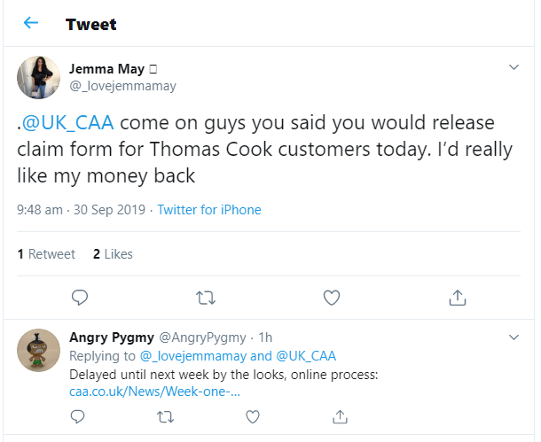 Thomas Cook refund delay tweet