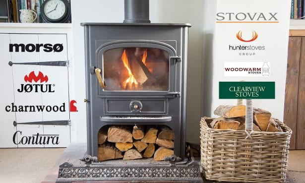 Wood-burning stove with logos from stove brands