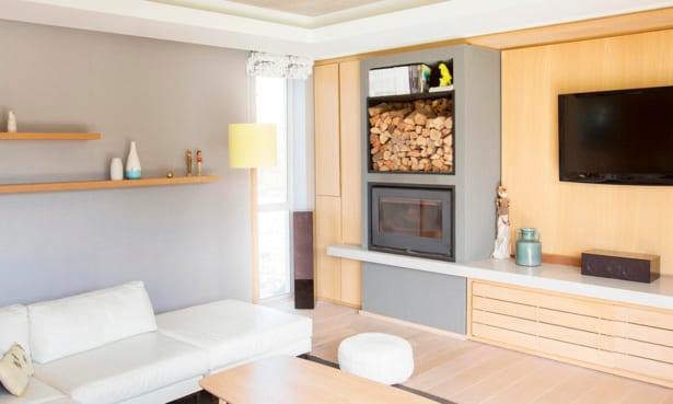 Modern built-in wood-burning stove
