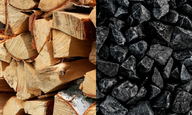 Wood and coal side by side