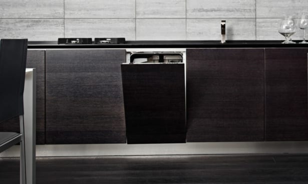 Integrated dishwasher in built-in kitchen