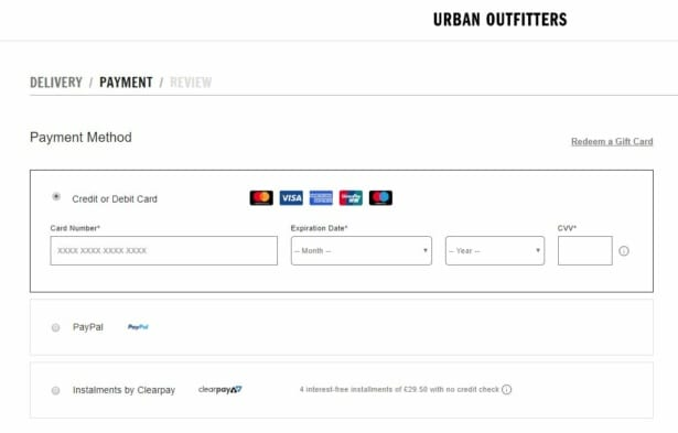 Clearbuy payment option with Urban Outfitters