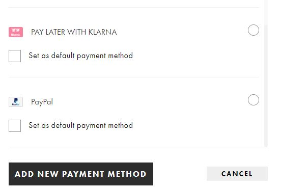 Klarna payment option with Asos