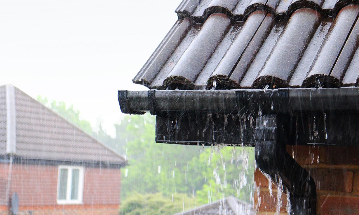 Leaking gutters in the rain