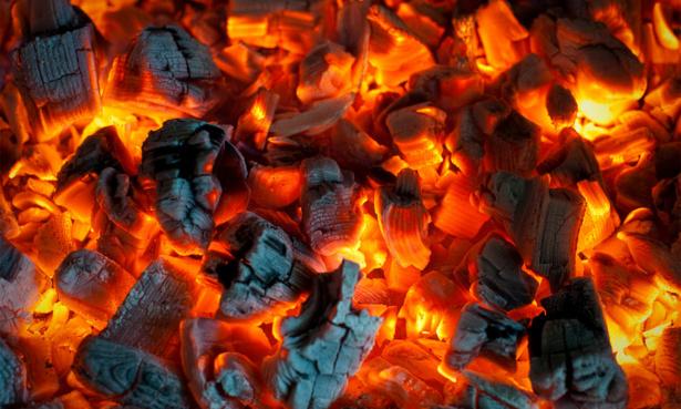 Coal burning and glowing