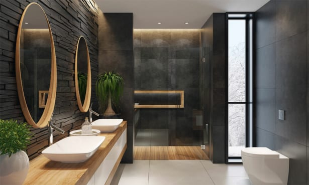 Grey bathroom with wooden mirrors and accents