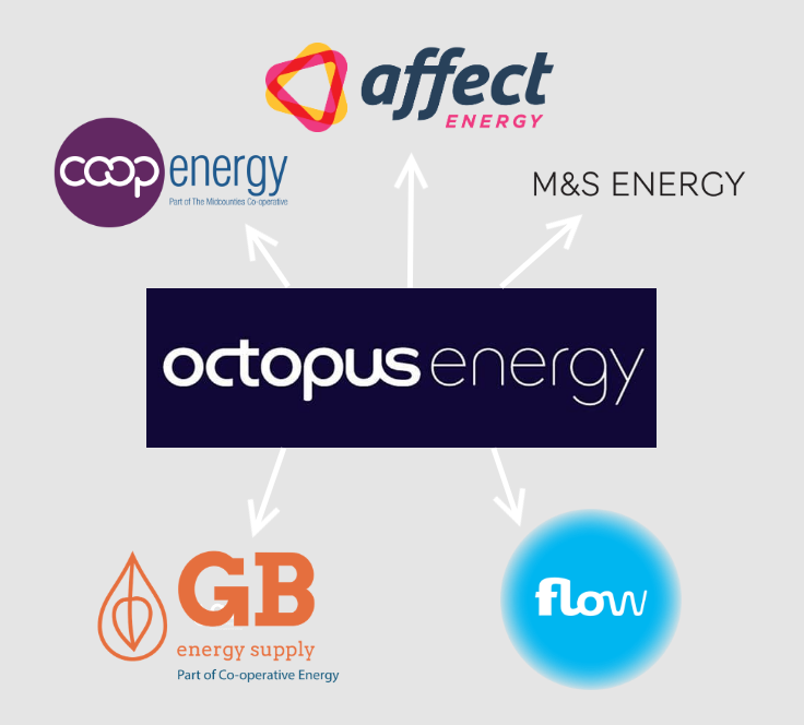 Octopus Energy, Affect Energy, Co-operative Energy, Flow Energy and GB Energy logos
