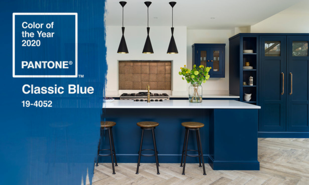Pantone colour of the year 2020 Classic Blue and a blue Harvey Jones kitchen