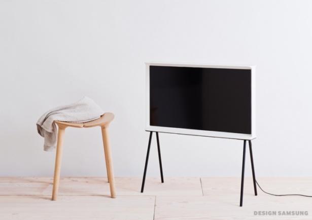 Samsung Serif TV on A-frame stand