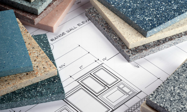 Different materials for kitchen worktops on a kitchen plan