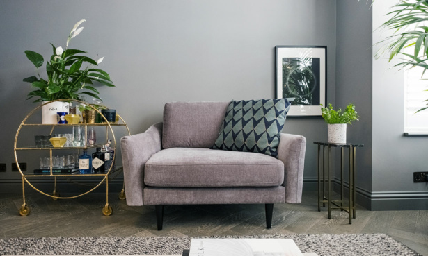 Grey small sofa armchair