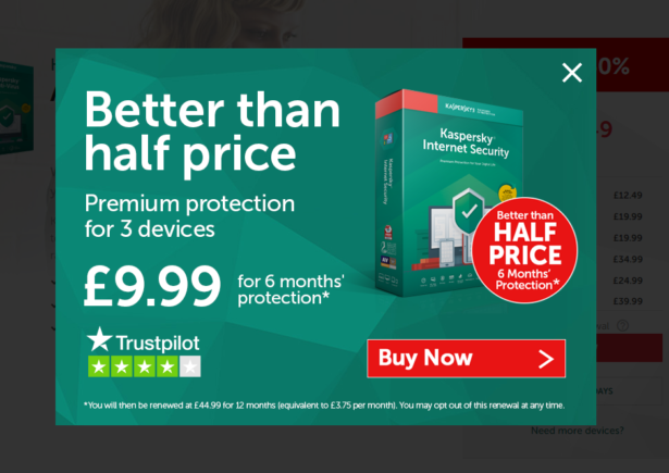 Half price offer on Kaspersky antivirus