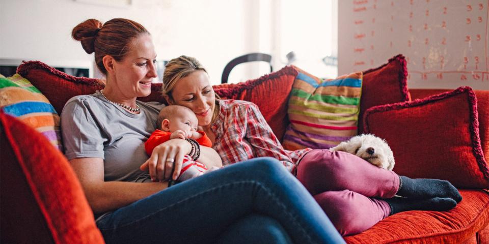 Family cosy on sofa