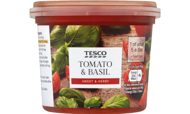 Tesco tomato and basil pasta sauce