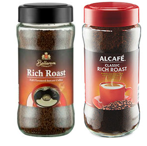 Lidl Bellarom Rich Roast and Aldi Alcafe instant coffee in jars