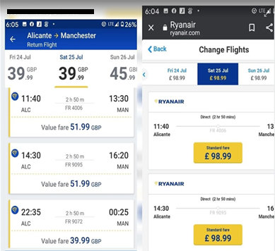 Ryanair rebooking fare screen