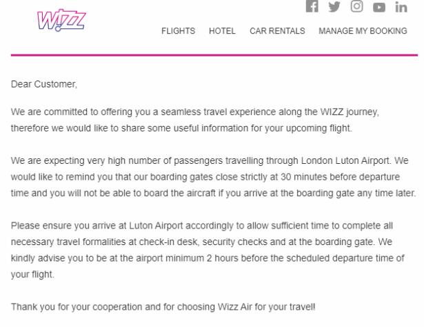 Wiiz Air email screenshot