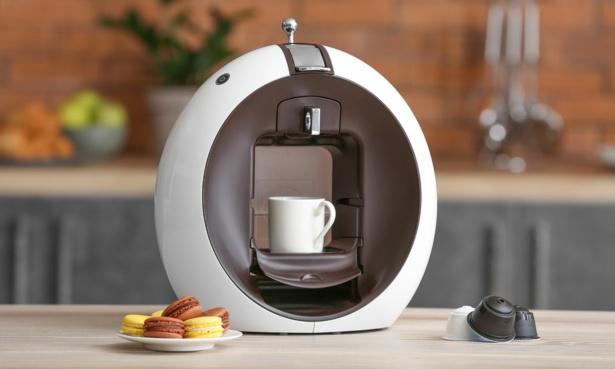 Pod coffee machine on a kitchen worktop