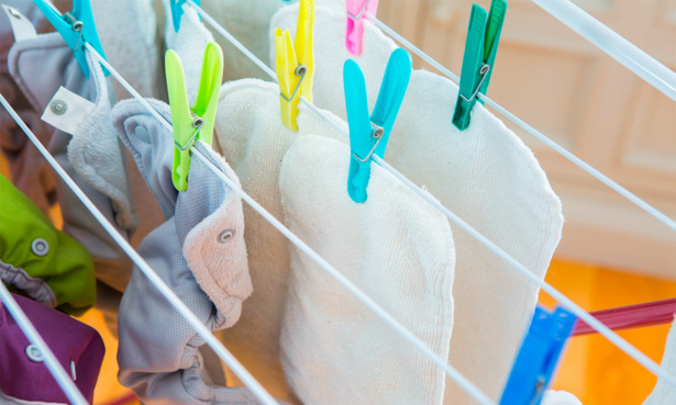 Drying washed reusable nappies
