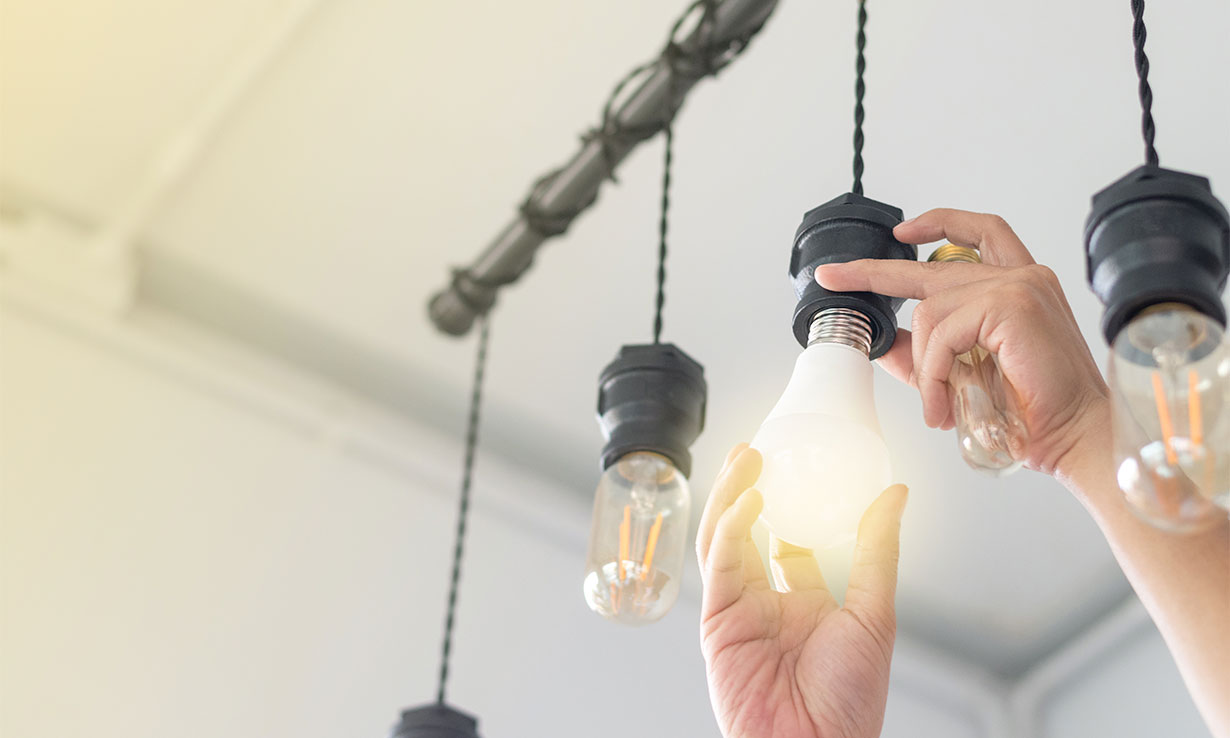 changing an old light bulb to an LED