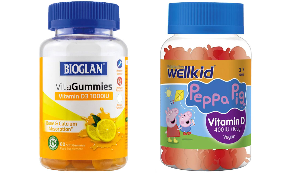 Bioglan and Vitabiotics Wellkid gummy and jelly vitamin D supplements