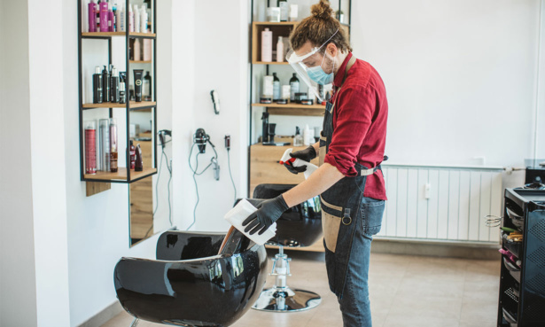 hairdressers set up for social distancing