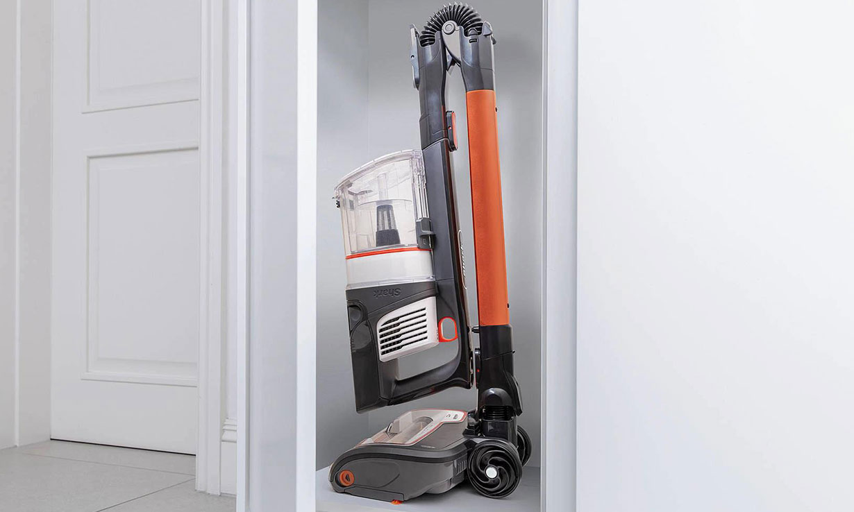 A Shark Flexology cordless vacuum folded down and stored away