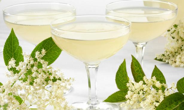 Elderflower cordial with sparkling wine