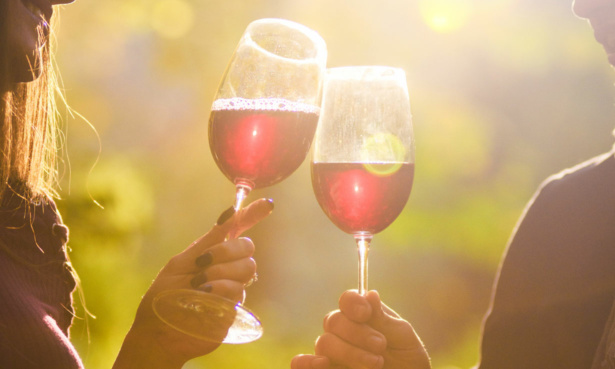 Couple toasting glasses of sparkling red wine