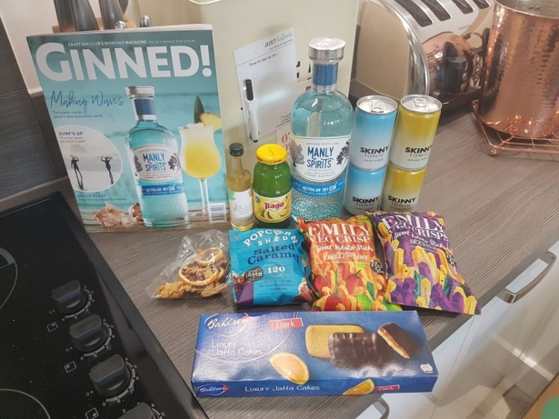 Craft Gin Club - Manly spirits gin, skinny tonic, salted caramel popcorn, vegetable crisps, luxury jaffa cakes