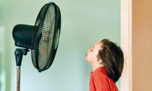 child facing electric fan