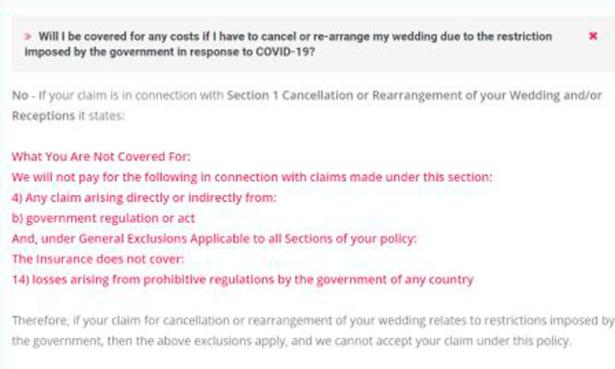Screenshot of WeddingPlan's online FAQs, August