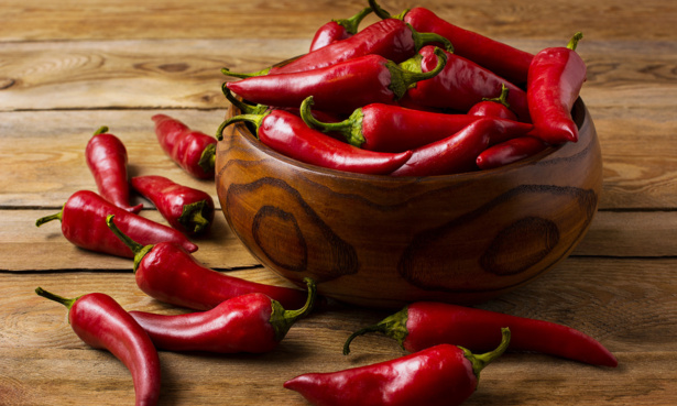 bowl of red chillies