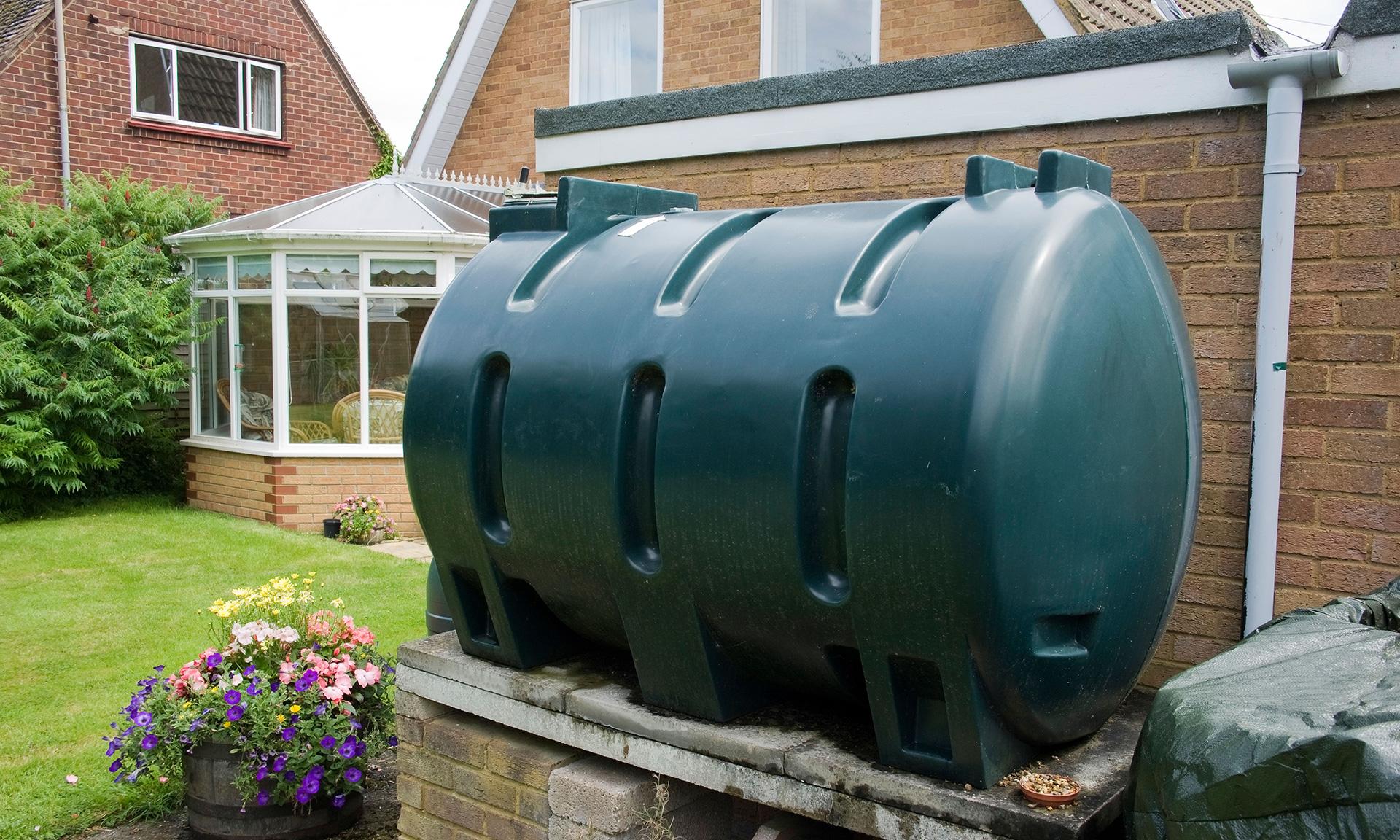 heating oil tank in a garden