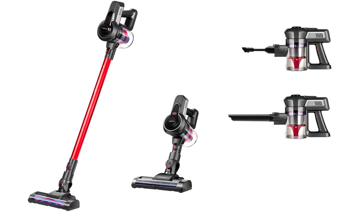 A cordless vacuum cleaner fully assembled and in various handheld modes