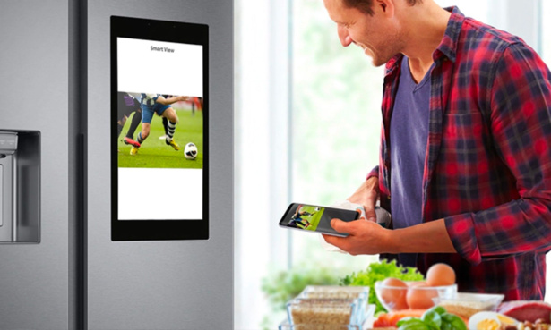 Watching TV on Samsung Family Hub smart fridge freezer