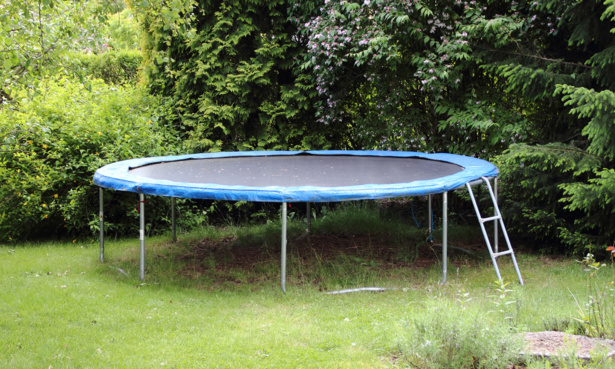 Trampoline with netting removed