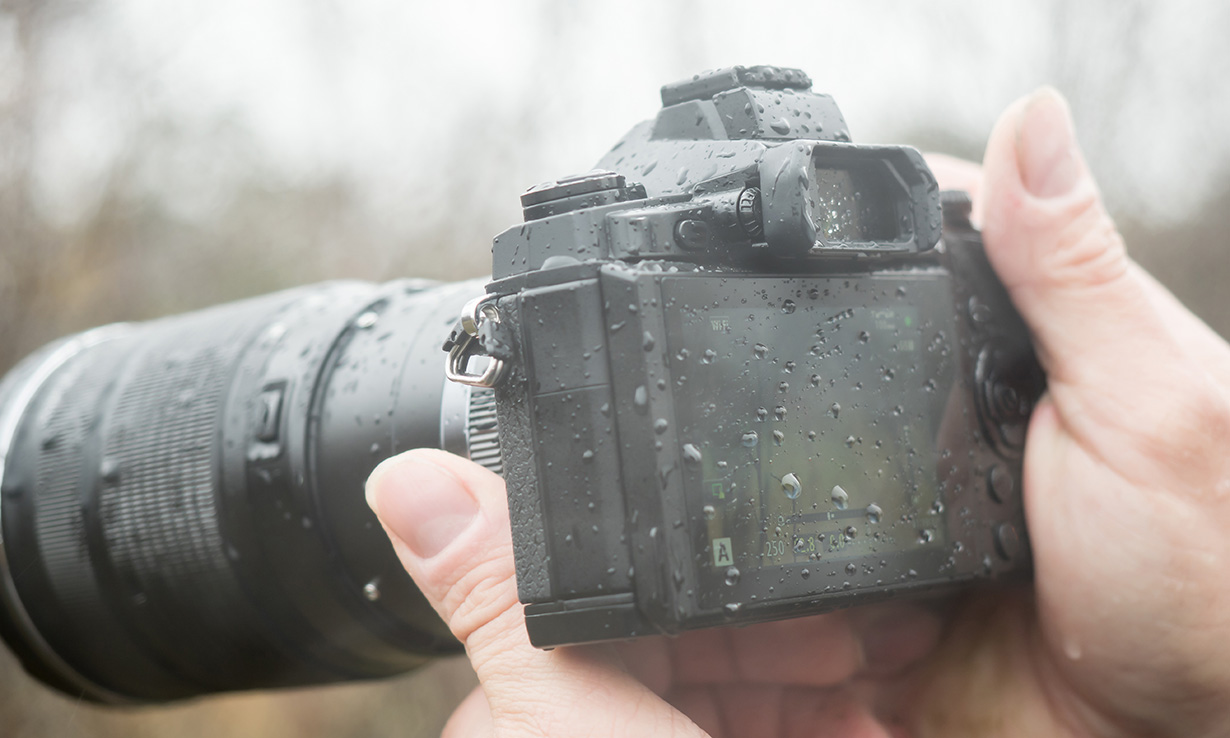 camera wet from the rain