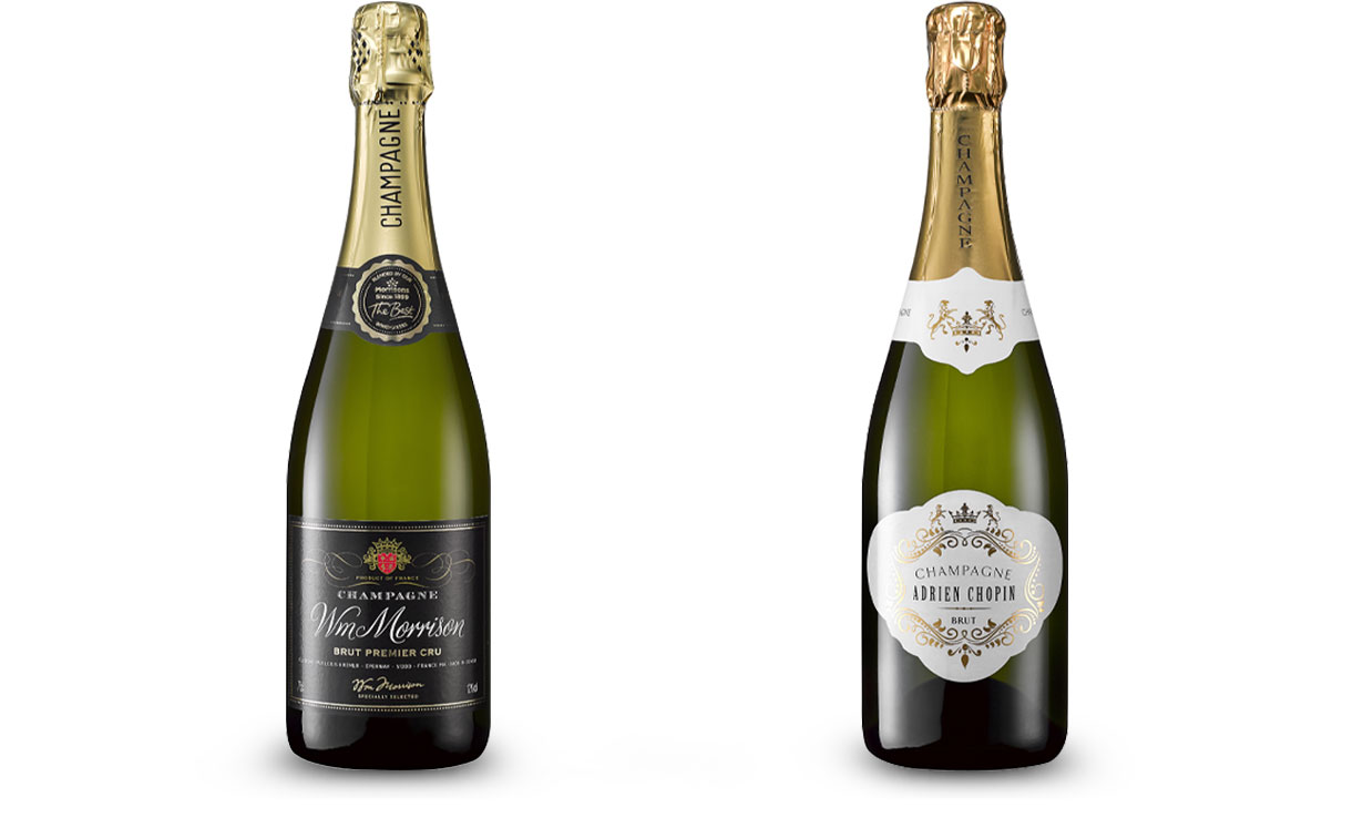 Morrisons Adrien Chopin Champagne and Waitrose Brut Champagne
