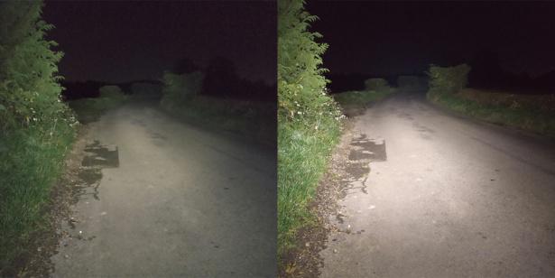 Two bike lights lighting road