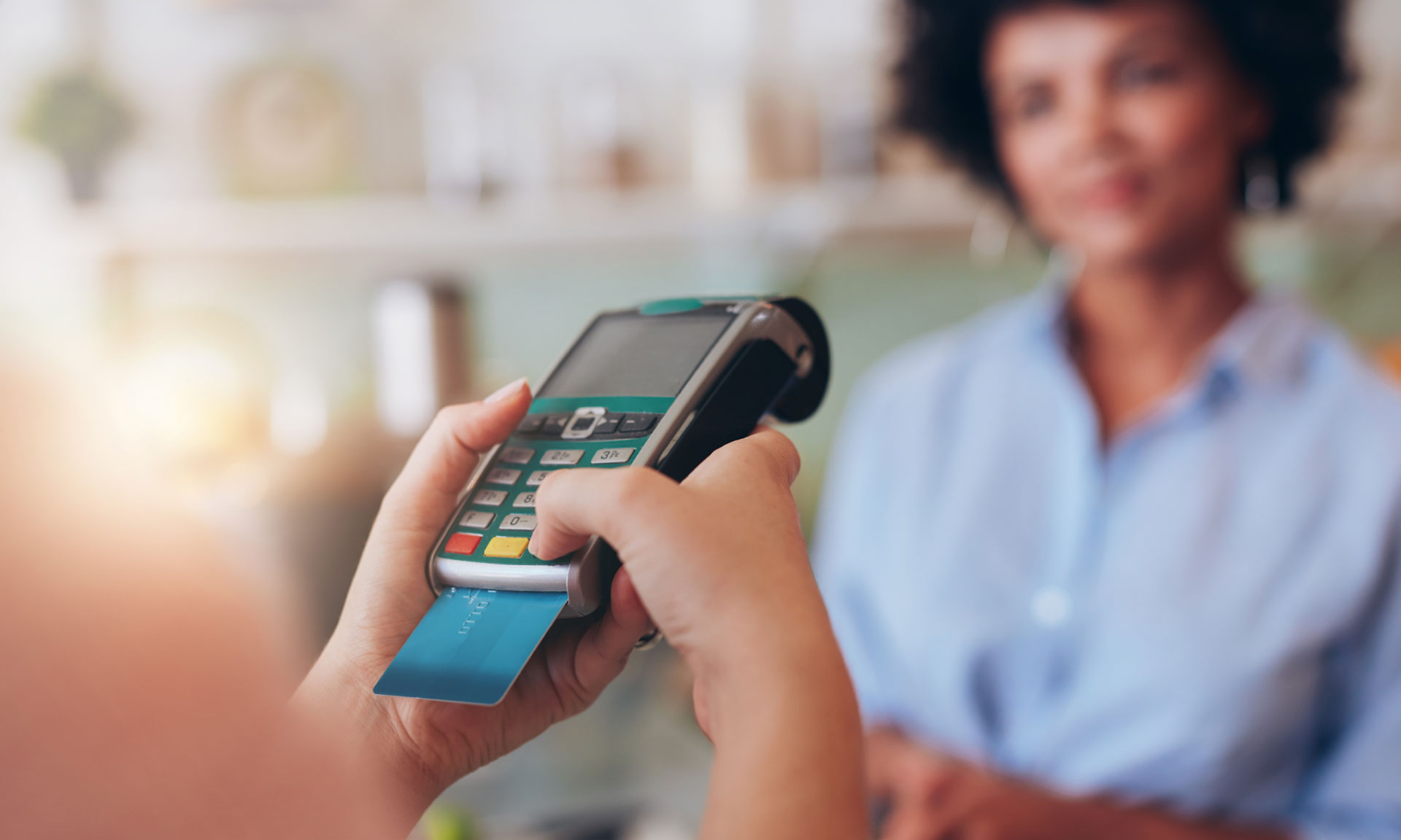 Paying on a card machine