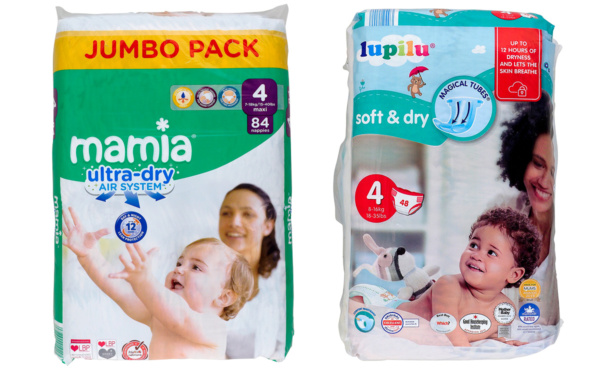 Aldi Mamia ultra-dry nappies and Lidl Lupilu nappies
