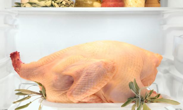 A turkey in a fridge