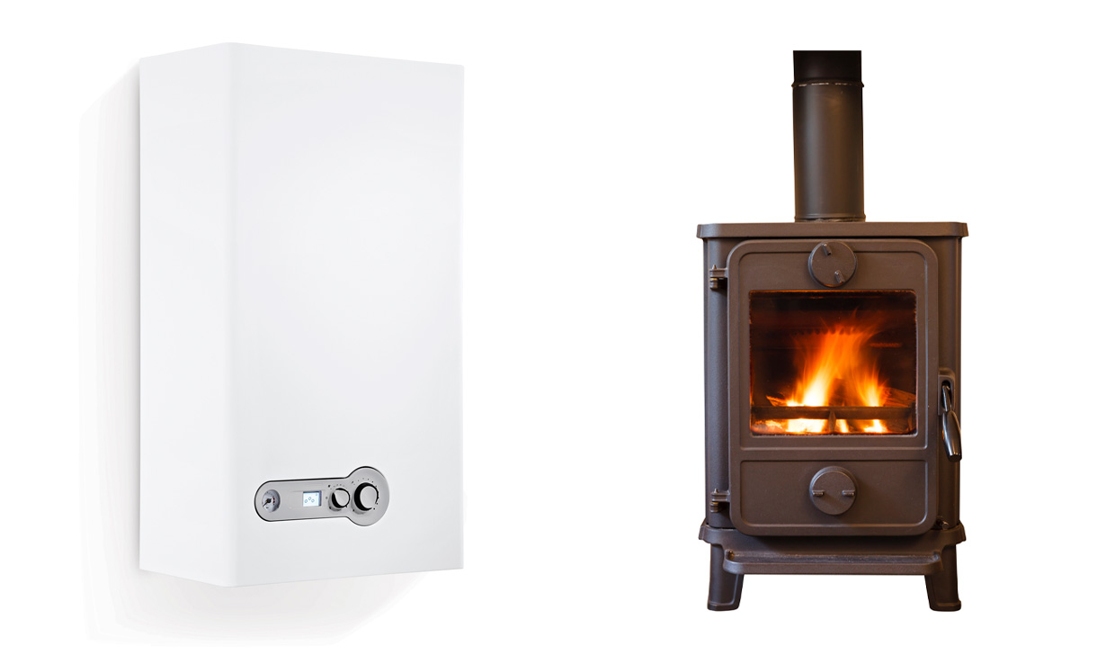 Picture of a boiler and a log burner.