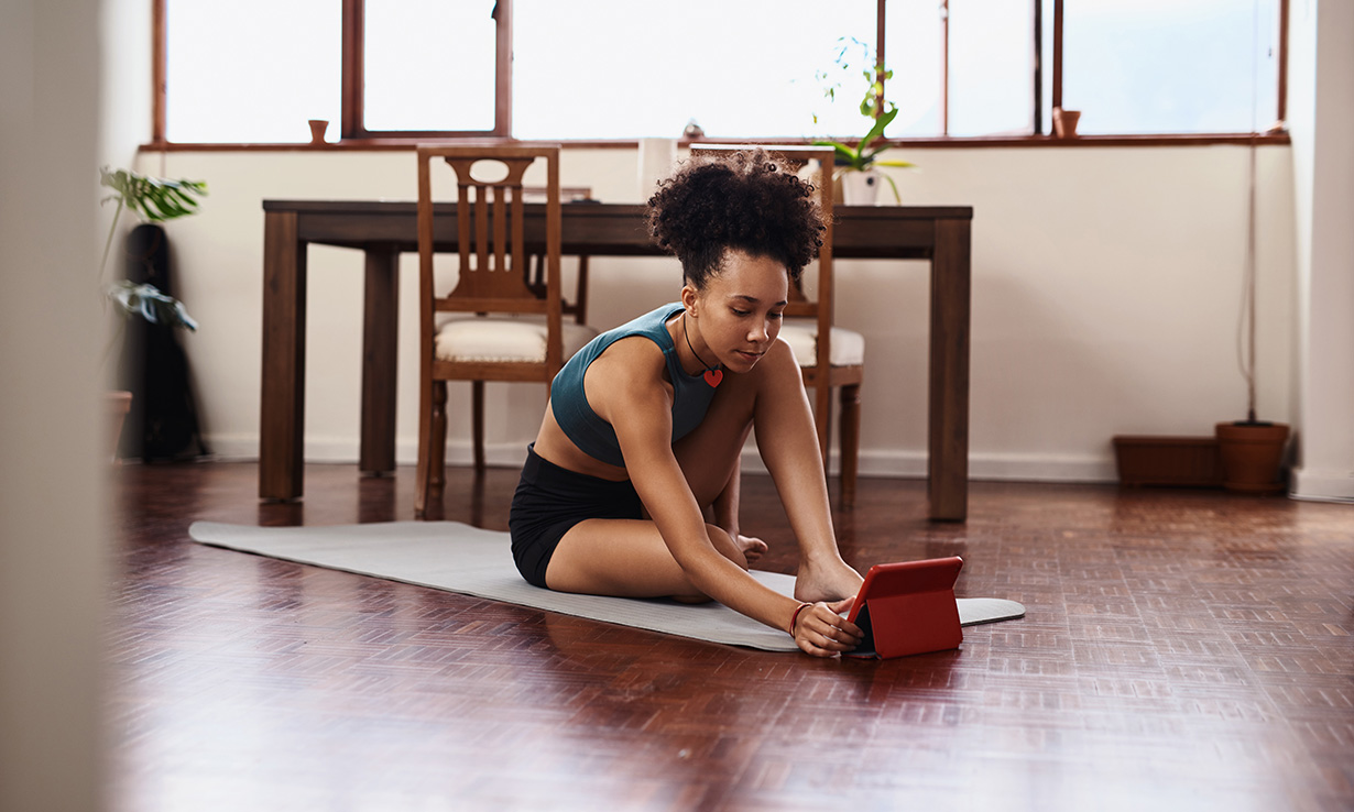 Woman using a fitness app