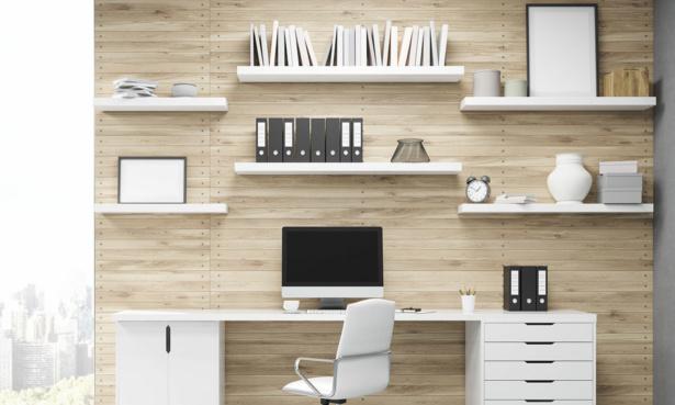 Items on wall shelves above office desks